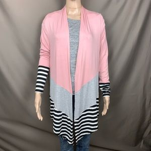 Tru Self pink and gray cardigan with stripes small